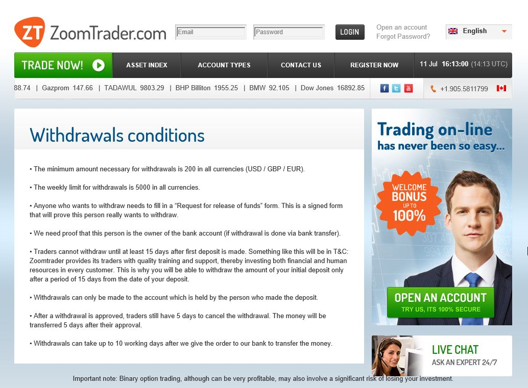 Martingale system for binary options