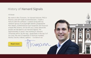 Ron Trumann from Harvard Signals