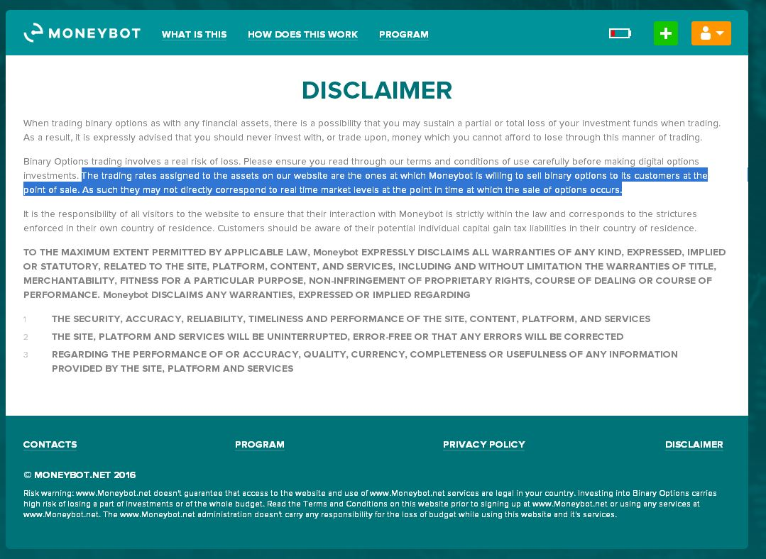 Binary options disclaimer