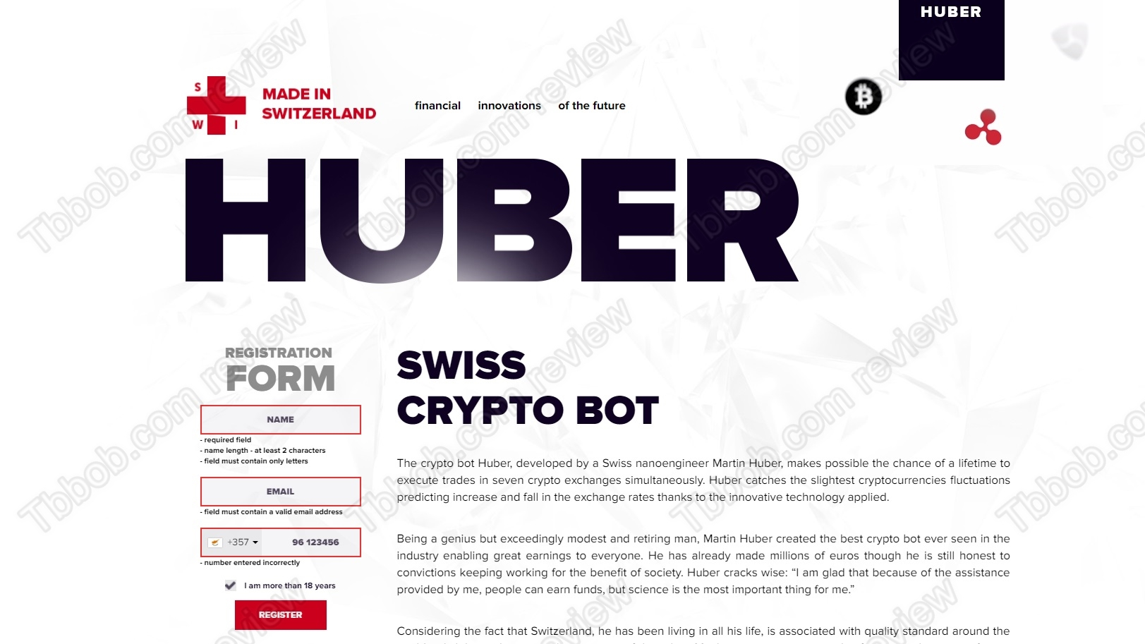 Swiss endorse cryptocurrency scam