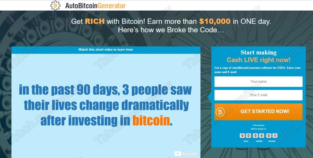 Auto Bitcoin Generator website
