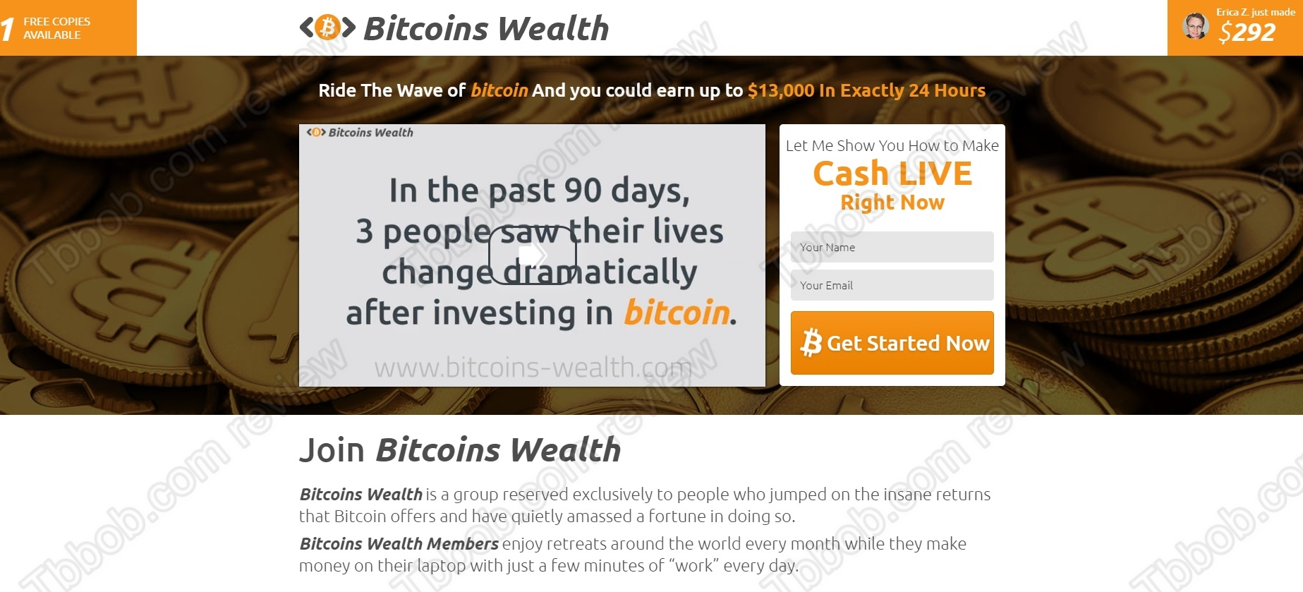 Brutal scam bitcoins wealth review with proofs see in this review that bitcoins wealth is a massive scam made to steal your money it is presented by steve robinson ccuart Images
