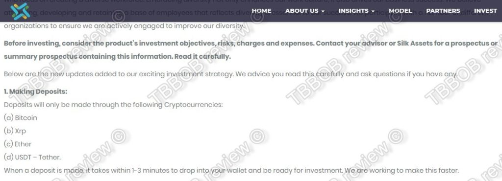 Crypto deposits only